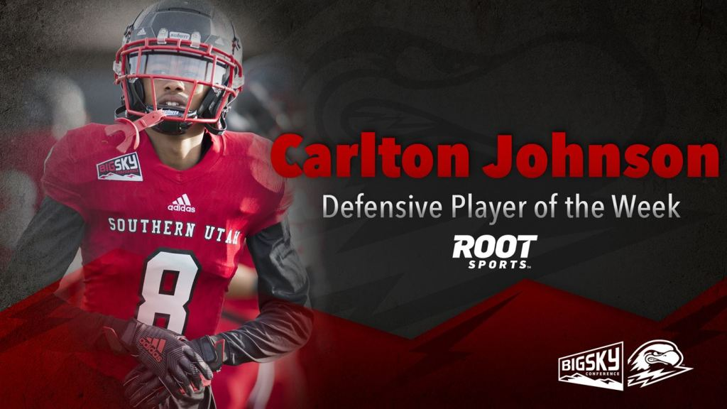 Carlton Johnson wins ROOT Sports Defensive Player of the Week after returning two interceptions for 67 yards and a touchdown.