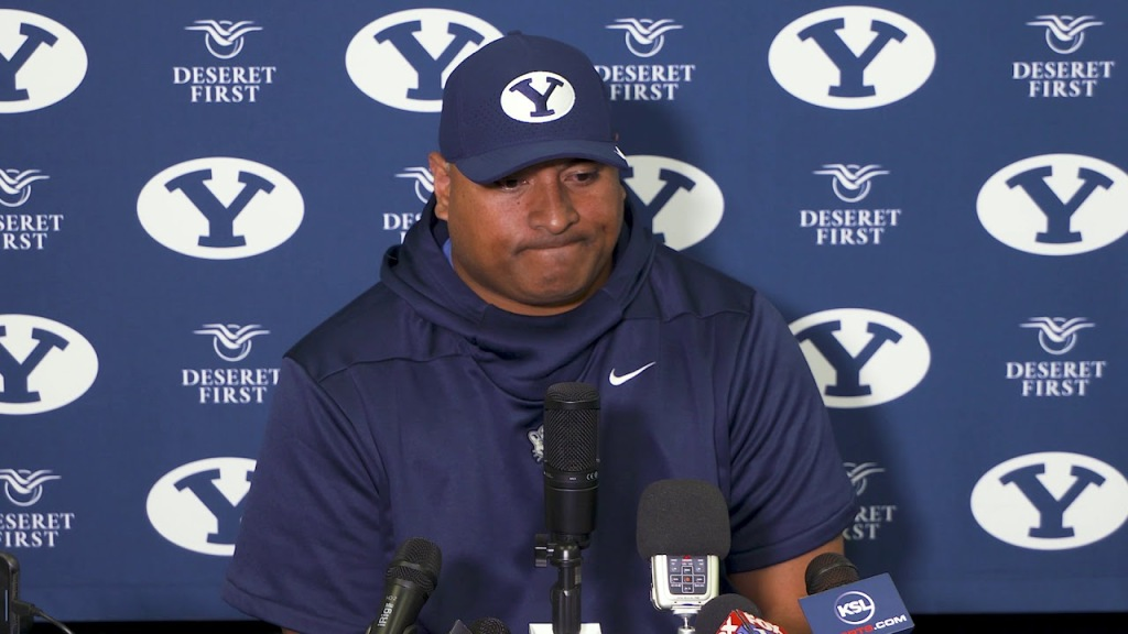 Kalani Sitake speaks in a press conference after BYU's 27-23 loss to USF.