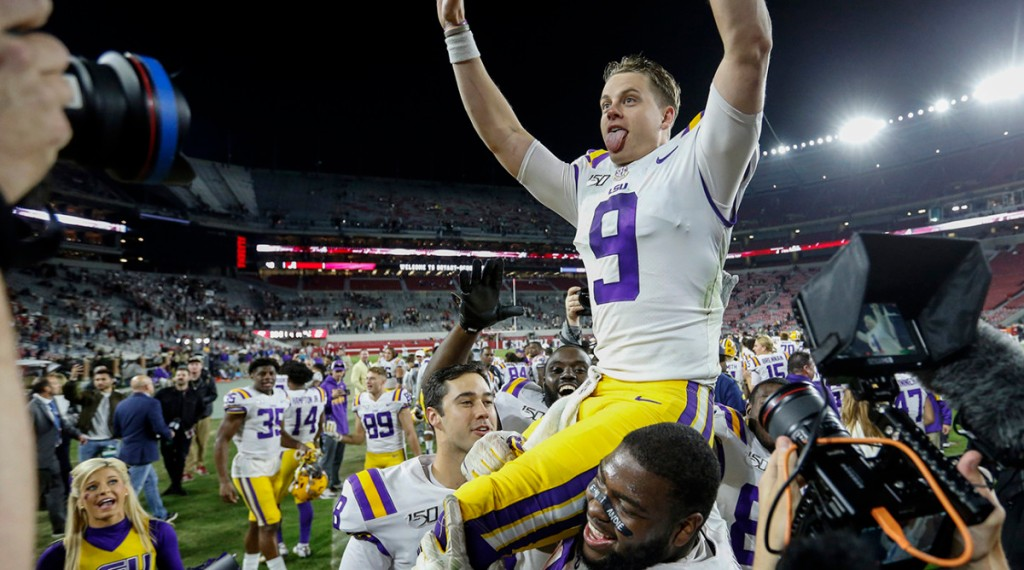 Joe Burrow gets carried off after leading LSU to their first win over Alabama in eight years.